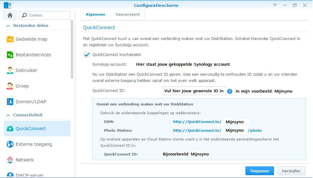 QuickConnnect menu 1